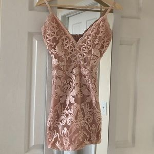 PrettyLittleThing embroidered lace bodycon dress